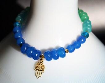 OMBRE Gemstone Bracelet! Blue, Aqua, Seafoam, Teal, Green JADE and Indigo Kyanite Stretch Bracelet! 14k Gold Vermeil HAMSA Charm and Beads!