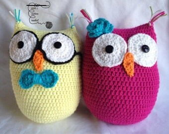 crochet owl pillow - amigurumi, stuffed toy, handmade