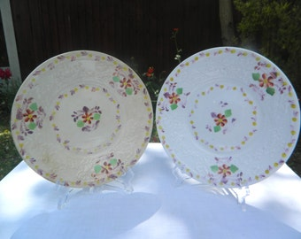 Pair of Vintage Handpainted, Floral, Raised Embossed Cabinet Plates