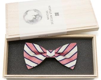 Classic Red Stripes Bowtie - Modern Boys Bowtie, Toddler Bowtie Toddler Bow tie, Groomsmen bow tie, Pre Tied and AdjustableNovioshk, H0177