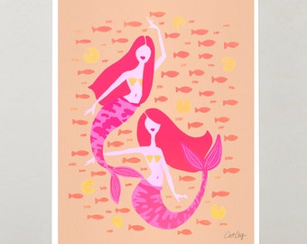 "Koi Mermaids – Signed Acrylic Painting Print by CatCoq. Artwork Printed on 8.5""x11"" High-Quality Archival Epson Paper. Nursery Wall Art."