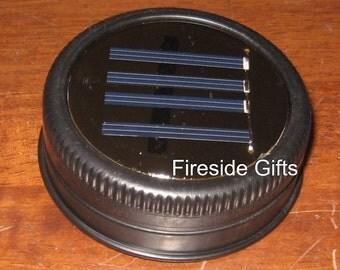 Mason Jar Solar Lid Light - Set of 6 - Black - Single White LED - solar patio lights, solar light, outdoor solar lights, solar mason jar