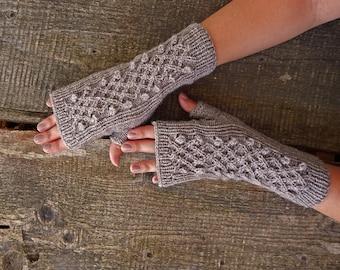 Knitted mittens, knitted fingerless gloves, wool gloves, chamoisee arm warmers,  knit gloves, gloves with braids, boho mittens, beige khaki