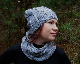 Knitted hat, knitted scarf, knitted hat scarf set, knitted chunky scarf, gray hat, knitted cowl, knitted snood, rustic knit, hand knit scarf