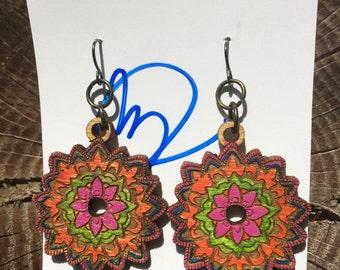 Mandala earrings red/pink