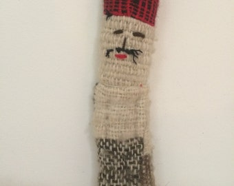Primative Folk Art Worry Doll - Wool Doll with Mustache