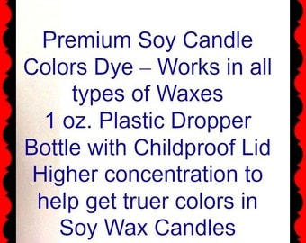 1oz Glass Dropper Bottle of Liquid Candle Dye- You Choose your Color- Amber Glass  Bottle with Childproof Cap- Great in All Types of Waxes