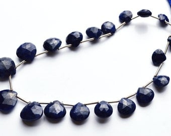 Natural Gem Superb-Finest Quality  9 Inches Natural ,Super Rare Blue Sapphire Faceted Heart Shape beads  Briolettes 8 TO 12 mm