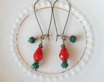 Earrings Pearl Earrings African beads red green antique bronze earrings boho hippie