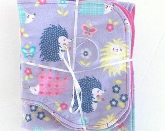 Hedgehog Baby Gift - Hedgehog Receiving Blanket - Burp Cloth Set - Baby Swaddle Blanket - Handmade Baby Blanket - Baby Shower Gift