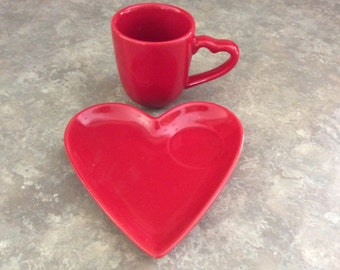 A Cute! Sweet Heart Set! Red Heart Shape Snack Plate and Cup, Double Nice Co.