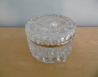 Striking heavy round cut glass jewelry vanity box