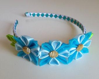 Light blue headband, Girls headband, Hard headband, Flowers headband