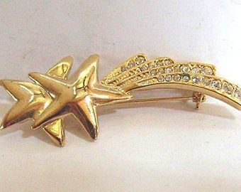 Shooting Star Brooch - Gold Tone Celestial Pin with Rhinestone Streamers - Vintage Unsigned Costume Jewelry Falling Star Brooch