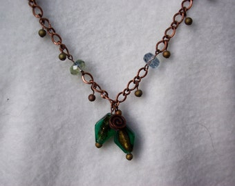 Copper Swirls with Blue-Green Glass Necklace, Bracelet, and Earring Set