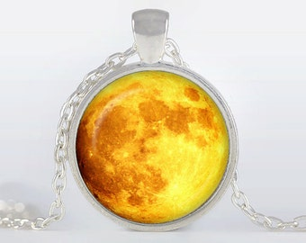 Full Moon Pendant, Yellow Moon Necklace, Silver Plated pendant, Full Moon Jewelry