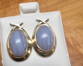 Sterling with lavendar stone earrings. Posts