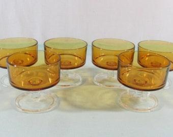 6 Luminarc Cavalier dessert bowls.  Amber glass sherbert bowls, Stem glass bowls, amber glass dishes. French vintage. 1970's Retro dining.