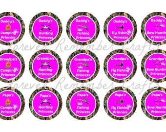INSTANT DOWNLOAD Daddy's Hunting & Fishing Princess Bottle Cap Image Sheets *Digital Image* 4x6 Sheet With 15 Images