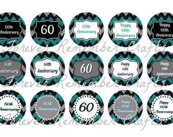 INSTANT DOWNLOAD 60th Wedding Anniversary Inspired Bottle Cap Image Sheets *Digital Image* 4x6 Sheet With 15 Images