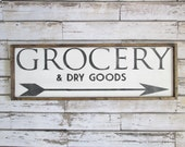Grocery Wood Sign. Farmhouse Decor. Rustic Signs. Wooden Sign. Rustic Kitchen Decor.