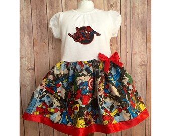 Super Hero Dress, Girl's Superhero Dress, Casual Comic Dress, Children's Super Hero Dress