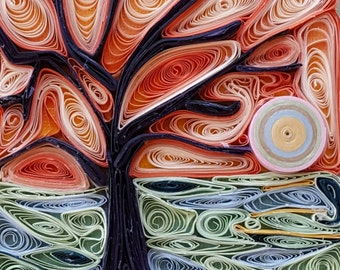 Abstract mosaic art - abstract tree mosaic art - peach landscape quilled - quilled tree - quilled abstract landscape art - gift for all