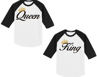 King and Queen - T Shirt/Raglan Coordinating Set 2 shirts great for couples/engagement announcement T shirts Together Since -YOUR yr-on back