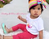 Rainbow Stripe Bow Headwrap