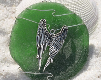 Green Wire Wrapped Sea Glass Ornament with Silver Angel Wings