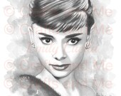 Digital Stamp Shaded - Instant Download - Audrey Hepburn - Fantasy Line Art for Cards & Crafts by Artist Emily Luella for Crafts and Me