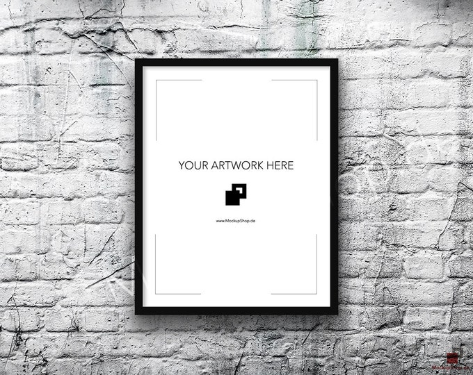 11x14 Vertical Digital BLACK FRAME MOCKUP, Styled Photography Poster Mockup, old White Brick Background, Framed Art, Instant Download Black