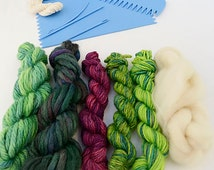 Small hand held weaving loom and kit - Green and Purple shades of British hand dyed yarns and fibres