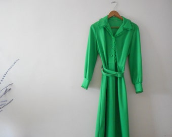 1950s/60s Bright Green Coat Dress - Size Large