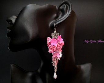 Polimer clay Earrings, Pink Clay Jewelry, Clay Roses, Pink Earrings, Rose earrings, Wedding earrings, flower earrings, floral jewelry
