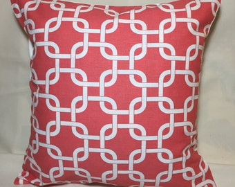 Pillow COVERs- Decorative Throw Pillow COVERS Coral, and White Link Pattern