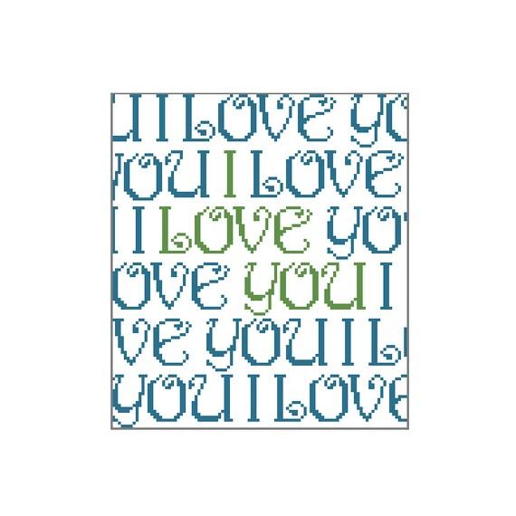 Cross-Stitch I Love You Typography Design - Digital Pattern