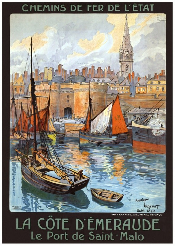 Port de Saint Mala France Poster, vintage French harbor scene print from 1920s.