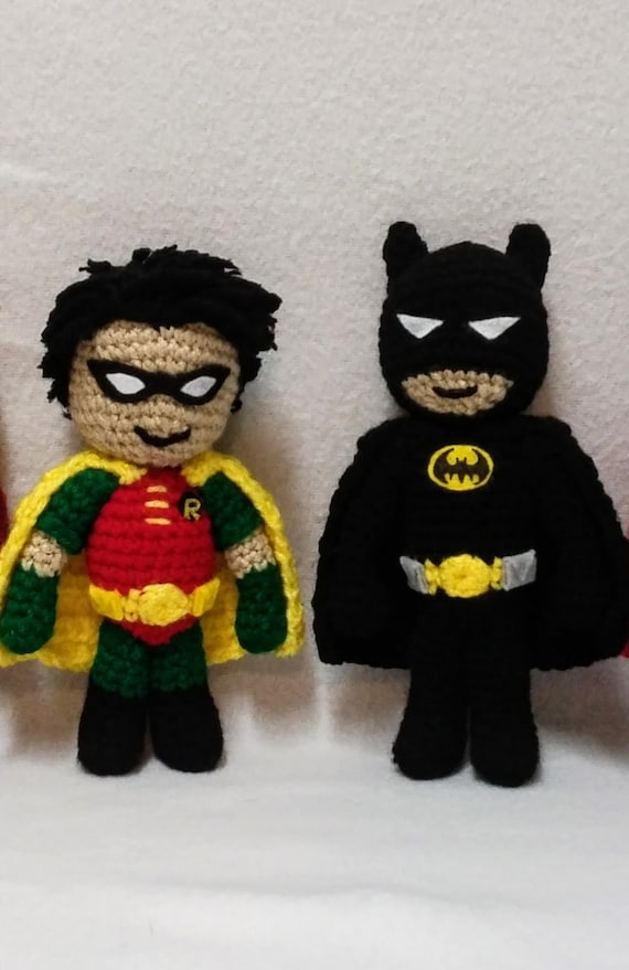 Batman and Robin 7 inch Tall Crochet Batman and Robin
