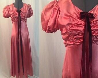 ON SALE Xs ** 1930s PINK liquid satin gown ** vintage thirties balloon sleeve dress