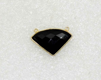 Black Onyx 22K Gold Plated Sterling Silver Connector