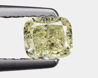 0.48 Ct Cushion 100% Untreated Natural Sparkling Fancy Light Yellow Diamond