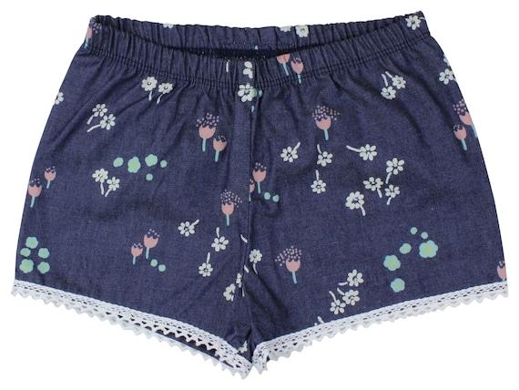 Denim Floral Baby Shorts Girl Shorts Toddler Shorts Cluny Lace Shorts Cream Floral Toddler Shorts Blue Floral Shorts Denim Floral Baby Gift