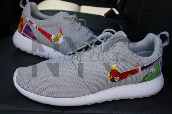 91d022976156ad hot sale The Flash Nike Roshe Run Grey Custom Kids   Womens by NYCustoms