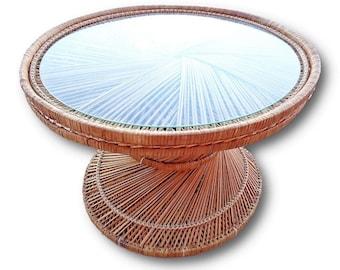 VVH Vintage Woven Rattan Drum Table Island Style Rattan End Table Small  Woven Rattan Coffee Table