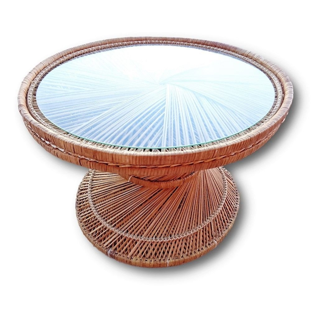 VVH Vintage Woven Rattan Drum Table Island Style Rattan End