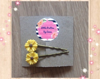 Bobby pins, hair pins, yellow hair pins, flower hair pins, floral hair accessories, bobby hair pins, handmade accessories, daisy hair clips