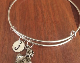 Shih Tzu initial bracelet, Shih Tzu jewelry, Shih Tzu bracelet, Dog jewelry, dog breed bracelet, silver Shih Tzu jewelry