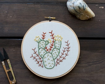 Cactus - Embroidery Hoop Art - Prickly Pear Cactus Embroidery Art in 6-inch Hoop - Cacti - Desert - Southwestern Decor - Plant