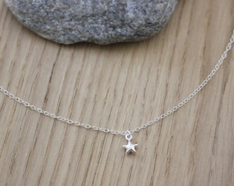 Sterling silver necklace little star charm - fine silver necklace - minimalist necklace - star necklace - silver choker - silver star
